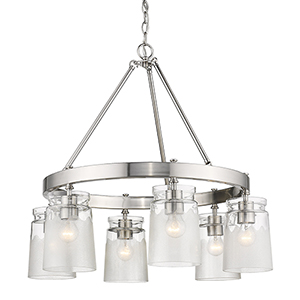 Tribeca Pewter 28-Inch Six-Light Chandelier