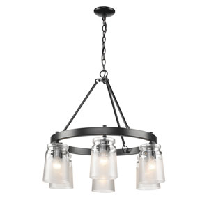 Travers Black Six-Light Chandelier with Clear Frosted Glass