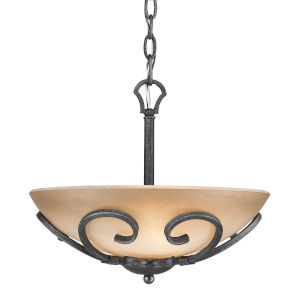 Madera Black Iron Three-Light Pendant