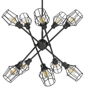 Axel Matte Black 15-Inch 10-Light Chandelier with Matte Black Wire Shades