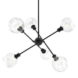Axel Matte Black 14-Inch Six-Light Chandelier with Seeded Globe Shade