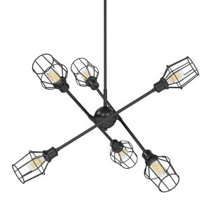 Axel Matte Black 12-Inch Six-Light Chandelier with Matte Black Wire Shade