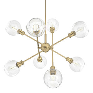Axel Olympic Gold 37-Inch Eight-Light Chandelier with Seeded Glass Globe Shade