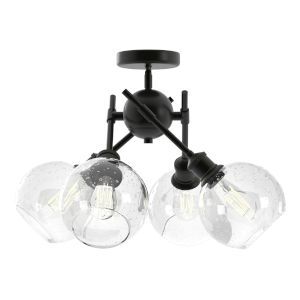 Axel Matte Black 16-Inch Four-Light Semi Flush Mount with Seeded Glass Globe Shade