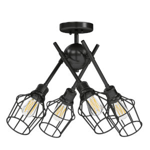 Axel Matte Black 13-Inch Four-Light Semi Flush Mount with Matte Black Wire Shade