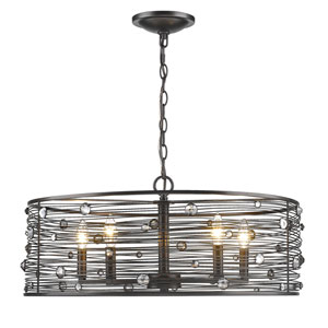 Bijoux Brushed Etruscan Bronze Five-Light Chandelier