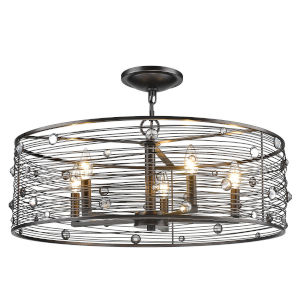 Bijoux Brushed Etruscan Bronze Five-Light Semi Flush Mount