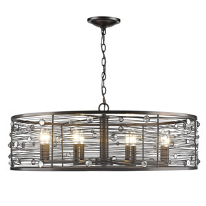 Bijoux Brushed Etruscan Bronze Eight-Light Chandelier