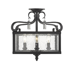 Valencia Black Four-Light Semi-Flush Mount