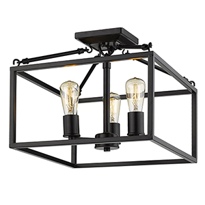 Wesson Black Three-Light Semi-Flush Mount