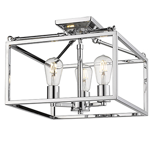 Wesson Chrome Three-Light Semi-Flush Mount