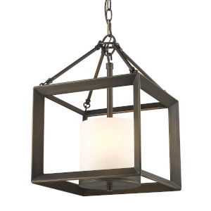 Smyth Gunmetal Bronze Opal Glass 12-Inch Three-Light Chandelier
