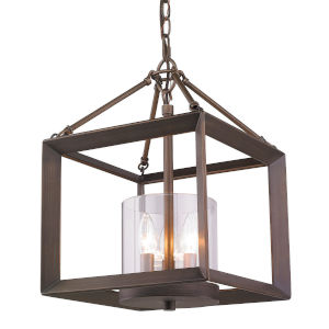 Smyth Gunmetal Bronze Clear Glass 12-Inch Three-Light Chandelier