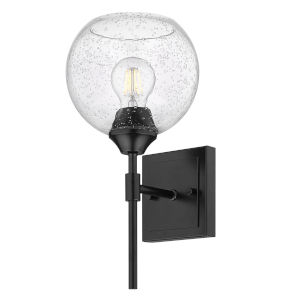 Ormond Matte Black Seven-Inch One-Light Bath Vanity with Seeded Glass Globe Shade