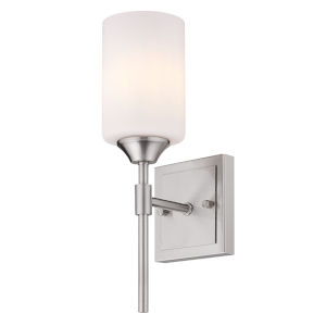 Ormond Pewter Four-Inch One-Light Bath Vanity with Cylindrical Opal Glass Shade