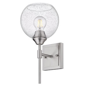 Ormond Pewter Seven-Inch One-Light Bath Vanity with Seeded Glass Globe Shade