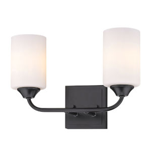 Ormond Matte Black 15-Inch Two-Light Bath Vanity with Cylindrical Opal Glass Shade