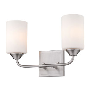 Ormond Pewter 15-Inch Two-Light Bath Vanity with Cylindrical Opal Glass Shade