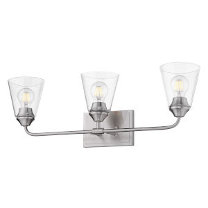 Ormond Pewter 26-Inch Three-Light Bath Vanity with Conical Clear Glass Shade