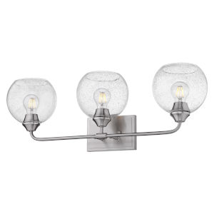 Ormond Pewter 28-Inch Three-Light Bath Vanity with Seeded Glass Globe Shade