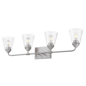Ormond Pewter 34-Inch Four-Light Bath Vanity with Conical Clear Glass Shade