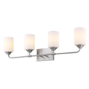 Ormond Pewter 33-Inch Four-Light Bath Vanity with Cylindrical Opal Glass Shade