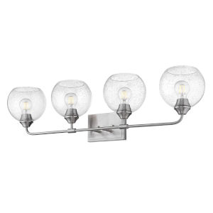 Ormond Pewter 36-Inch Four-Light Bath Vanity with Seeded Glass Globe Shade