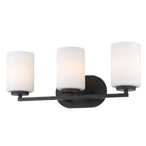 Manhattan Matte Black Three-Light Bath Vanity
