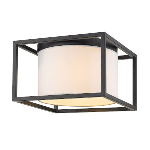 Manhattan Matte Black Two-Light Flush Mount