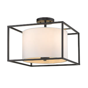 Manhattan Matte Black Three-Light Semi Flush Mount
