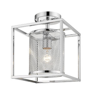London Chrome Nine-Inch One-Light Semi Flush Mount with Outer Cage