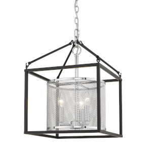 London Chrome 14-Inch Three-Light Pendant with Black Outer Cage