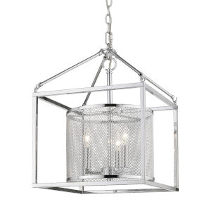 London Chrome 14-Inch Three-Light Pendant with Chrome Outer Cage