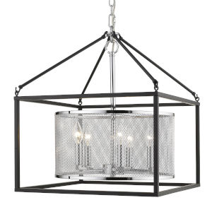 London Chrome 18-Inch Five-Light Pendant with Black Outer Cage