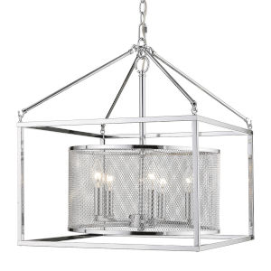 London Chrome 18-Inch Five-Light Pendant with Chrome Outer Cage