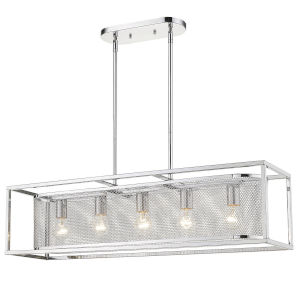 London Chrome 36-Inch Five-Light Pendant