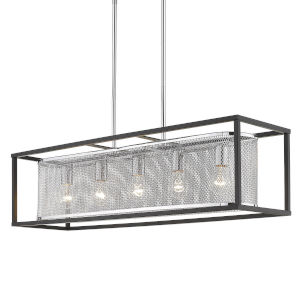 London Chrome 36-Inch Five-Light Island Pendant with Black Outer Cage