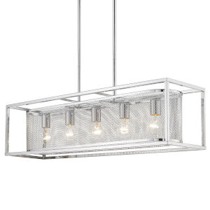 London Chrome 36-Inch Five-Light Island Pendant with Chrome Outer Cage