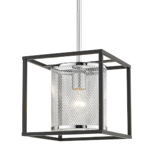 London Chrome Nine-Inch One-Light Mini Pendant with Black Outer Cage