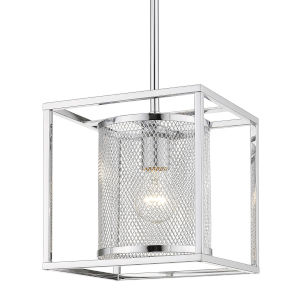 London Chrome Nine-Inch One-Light Mini Pendant with Chrome Outer Cage