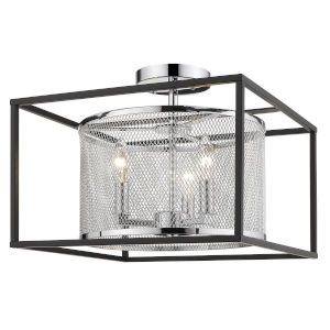 London Chrome 15-Inch Three-Light Semi Flush Mount with Black Outer Cage
