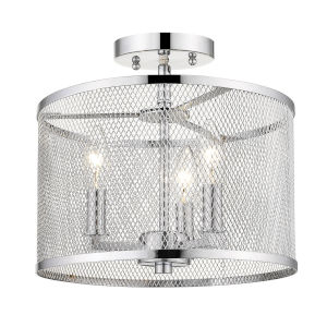 London Chrome 12-Inch Three-Light Semi Flush Mount