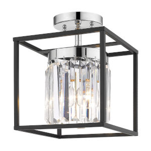 Paris Chrome One-Light Semi Flush Mount with Outer Cage