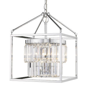 Paris Chrome 14-Inch Three-Light Pendant with Chrome Outer Cage