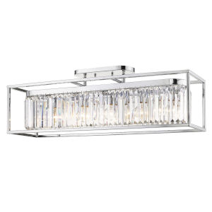 Paris Chrome 36-Inch Five-Light Semi Flush Mount with Outer Cage