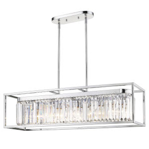 Paris Chrome 36-Inch Five-Light Island Pendant with Chrome Outer Cage