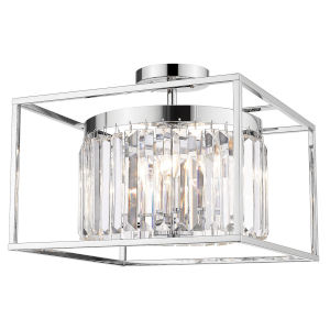 Paris Chrome 15-Inch Three-Light Semi Flush Mount with Chrome Outer Cage