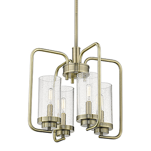 Holden Aged Brass Four-Light Mini Chandelier