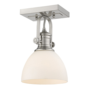 Hines Pewter Nine-Inch One-Light Semi-Flush Mount with Opal Glass