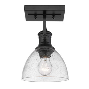 Hines Black One-Light Semi-Flush Mount With Seeded Glass
